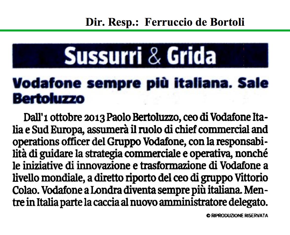 Privato: se Bertoluzzo fa carriera perché Vodafone dovrebbe diventare più italiana?