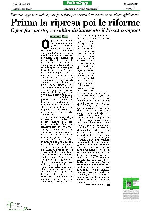I consigli di Gustavo Piga per rilanciare l'economia