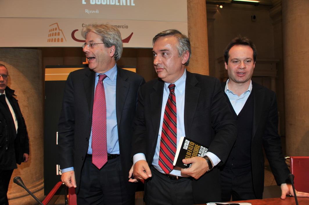 Paolo Gentiloni, Marco Carrai e Maurizio Molinari