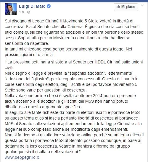 Unioni civili, Grillo ai senatori 5 stelle: libertà di coscienza
