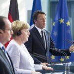 François Nicolas Hollande, Angela Merkel e Matteo Renzi