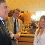 Antonio Tajani, David Sassoli e Maria Elena Boschi