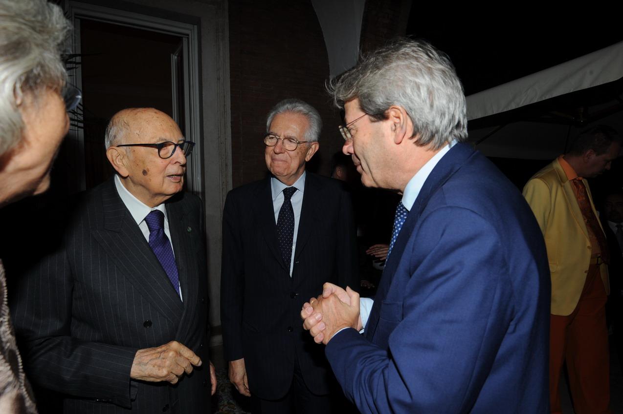 Giorgio Napolitano, Mario Monti e Paolo Gentiloni