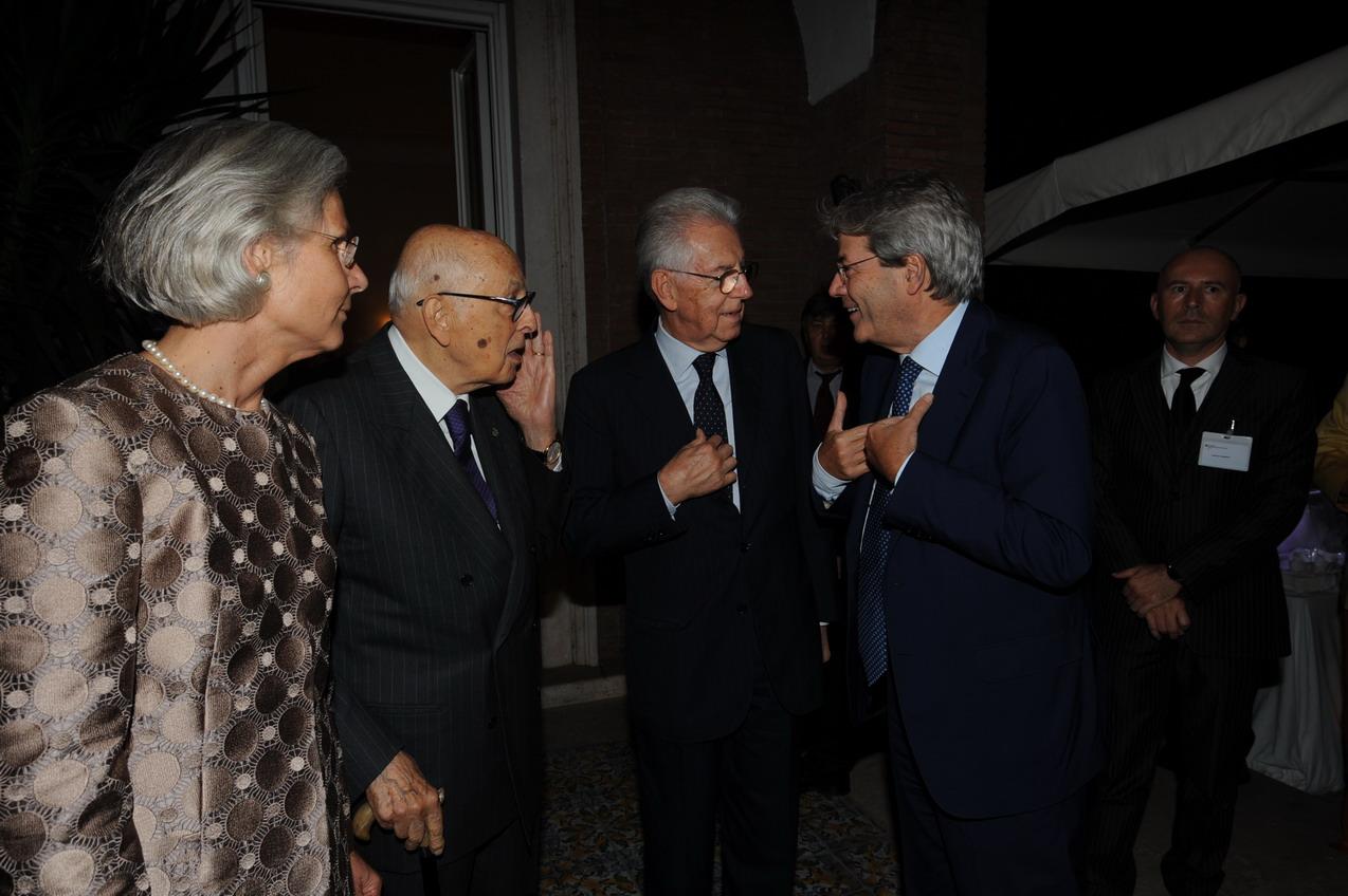 Susanne Wasum-Rainer, Giorgio Napolitano, Mario Monti e Paolo Gentiloni
