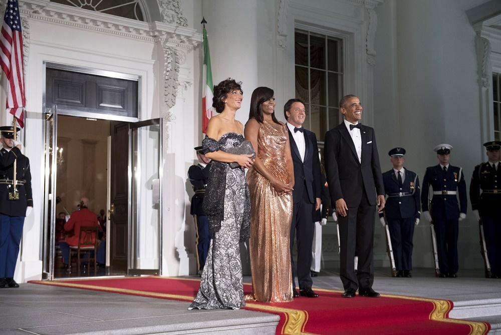 Agnese Landini, Michelle Obama, Matteo Renzi e Barack Obama