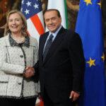 Hillary Clinton con Silvio Berlusconi - 2011 - Imagoeconomica