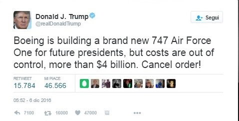 Air Force One, Trump dice no: