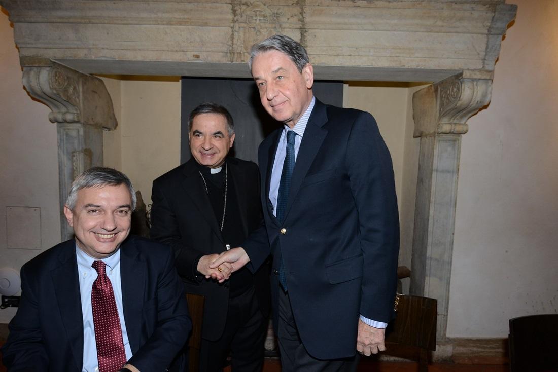 L'ambasciatore Alexander Avdeev, Maurizio Molinari e Angelo Becciu