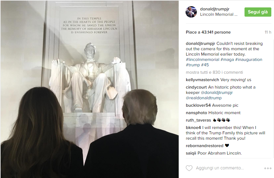 Melania e Donald Trump - Instagram