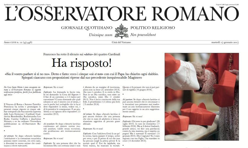 Cosa c'è scritto nel falso Osservatore Romano contro Papa Francesco (e non solo)