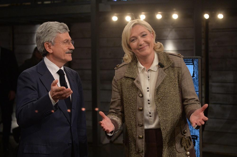 Massimo D'Alema e Marine Le Pen
