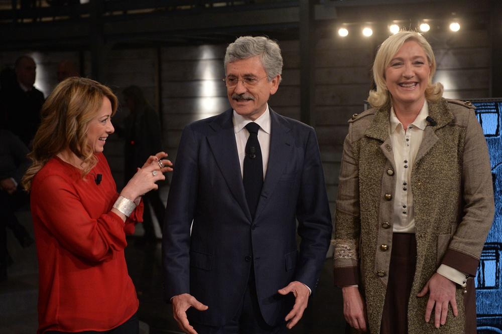 Giorgia Meloni, Massimo D'Alema e Marine Le Pen