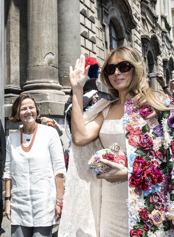 Emanuela Mauro Gentiloni e Melania Trump