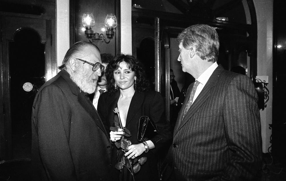 Aldo Biscardi con Sergio Leone e Adriana Russo (San Benedetto del Tronto, 1985)