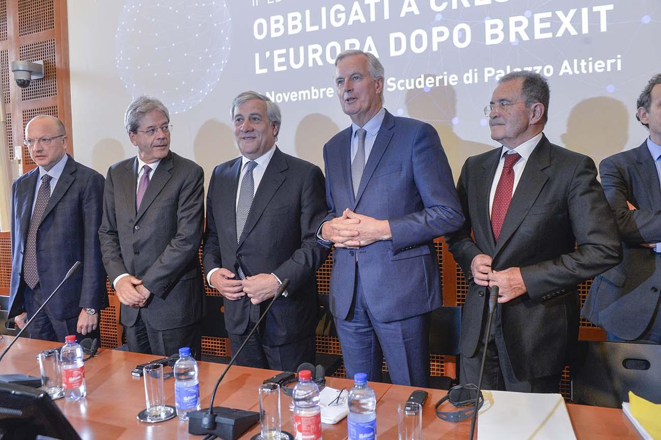Vincenzo Boccia, Paolo Gentiloni, Antonio Tajani, Michel Barnier, Romano Prodi