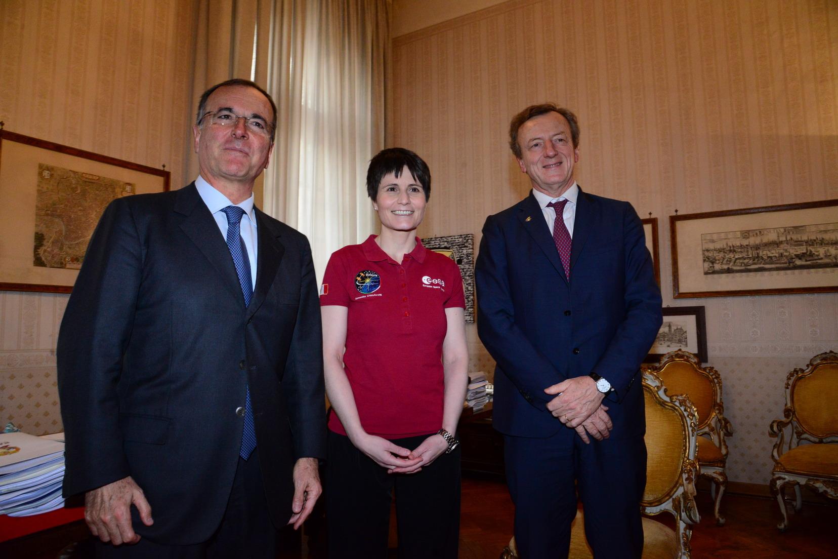 Franco Frattini, Samantha Cristoforetti e Roberto Battiston