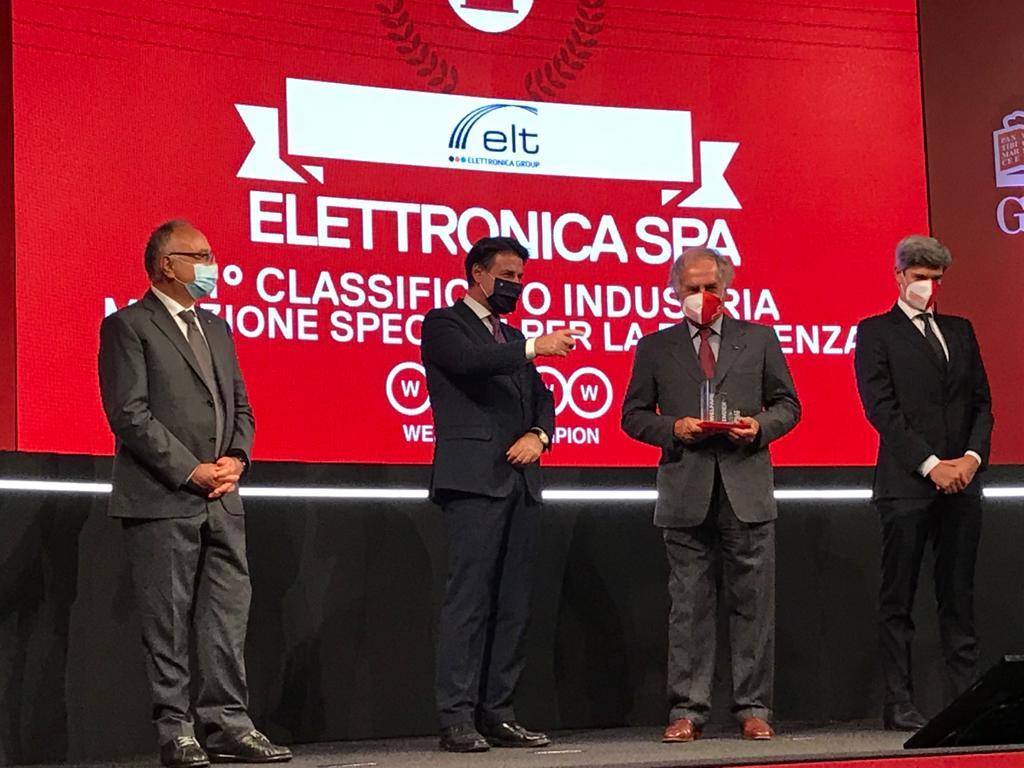 Elettronica è Welfare Champion 2020. Il premio consegnato da Giuseppe Conte