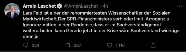 Tweet di Armin Laschet, capo della Cdu