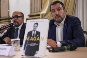 Chi c'era con Salvini e Sangiuliano alla presentazione del libro su Reagan. Le foto
