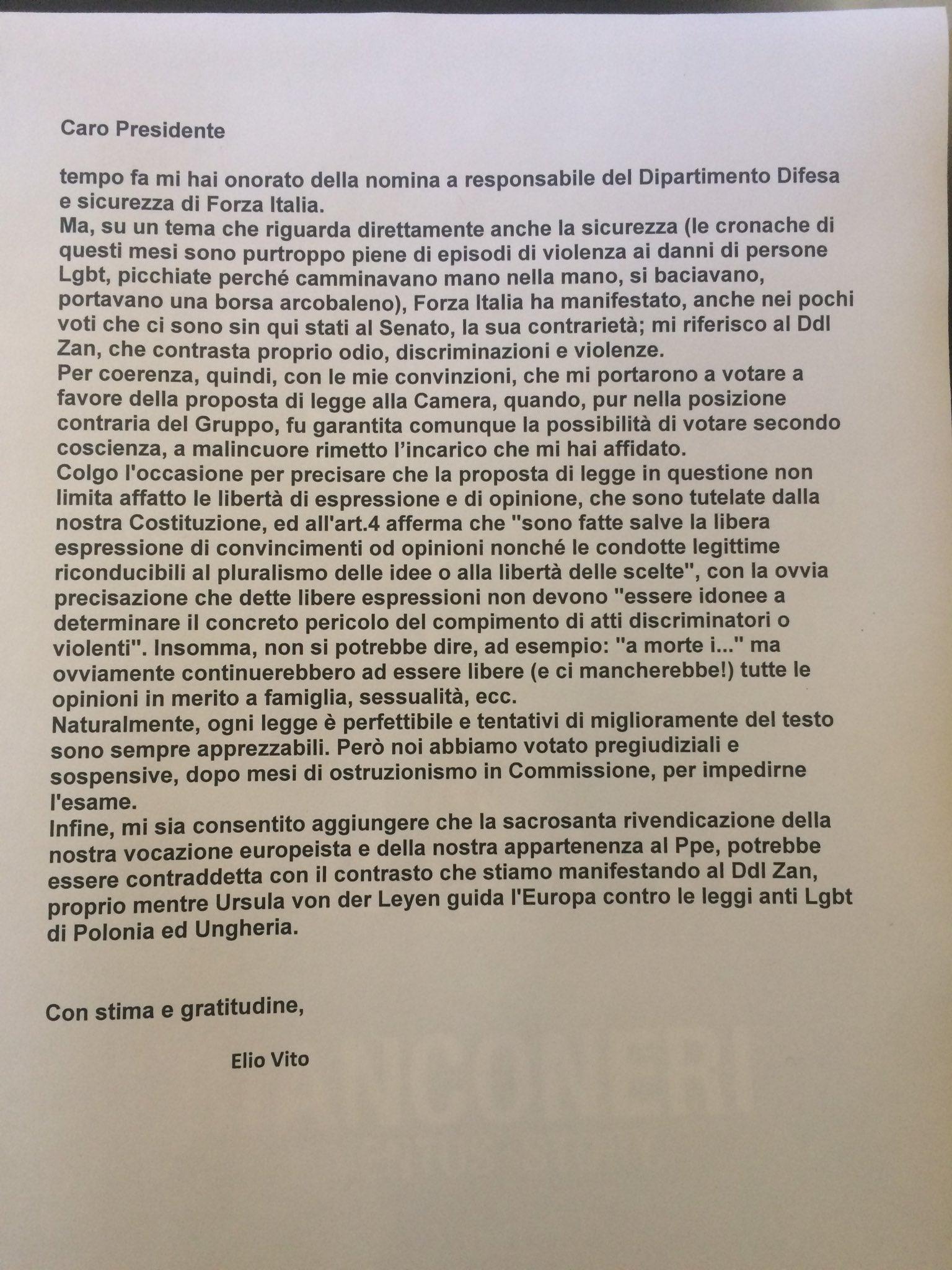 Stop al ddl Zan. Anche il governo Draghi ha perso. Scrive Elio Vito (FI)